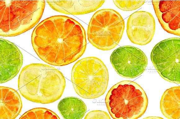Citrus Fruits Watercolor Pattern