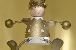 Xmas golden wooden angel