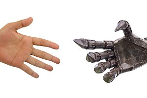 man hand  handshake with robot