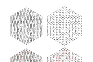 Complicated hexagon-shape labyrinths
