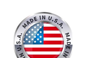 "Icon ""made in USA"" with flag"