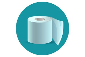 Toilet paper icon on blue web button vector illustration