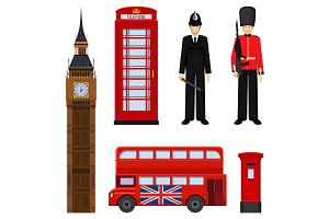 Traditional London sightseeing set vector illustration isolated on white.