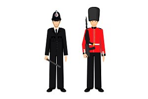 British guardsman and uk policeman vector illustration isolated