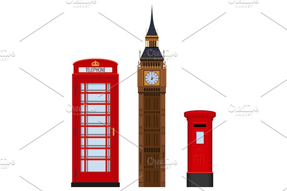 Traditional London Sightseeing Set Vector Illustration Isolated On White