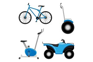 Exercise bike and bicycle, all-terrain vehicle, two wheeled segway isolated