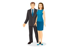 Elegant couple husband and wife vector illustration isolated on white.