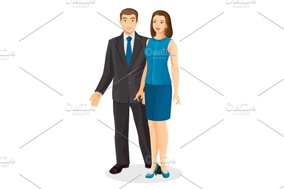 Elegant Couple Husband And Wife Vector Illustration Isolated On White