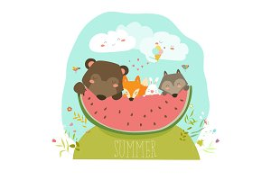 Cute animals eating watermelon slice. Hello summer