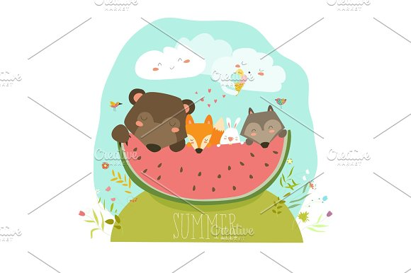 Cute Animals Eating Watermelon Slice Hello Summer