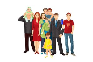 Big family mother, father, baby boy, toddler girl, teenager son.