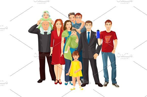 Big Family Mother Father Baby Boy Toddler Girl Teenager Son