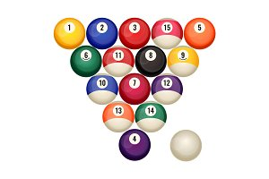 Pool billiard balls in starting position vector illustration isolated on white.