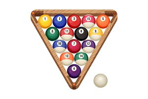 Billiard balls in wooden rack, vector illustration of starting position