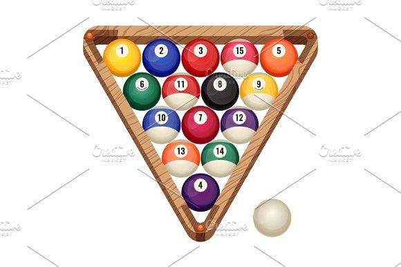 Billiard Balls In Wooden Rack Vector Illustration Of Starting Position