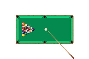 Green billiard table with cue and balls in starting position