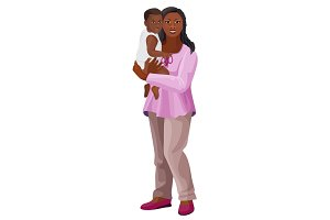 Black woman with child on arms vector illustration isolated