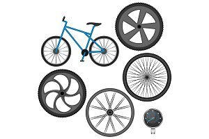 Set of different wheels, bike and speedometer isolated on white