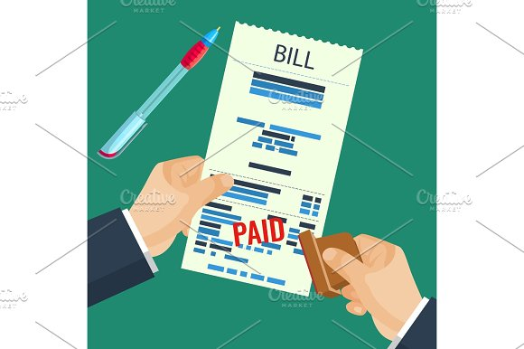 Paid Bill In Human Hands With Rubber Stamp Vector Illustration