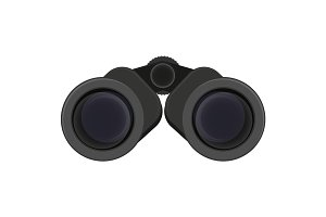 Black binoculars vector illustration isolated on white.