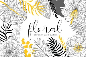 TROPICAL FLORAL HAND DRAWN VECTOR