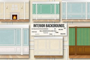 The wall of classic interior. Vector