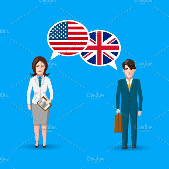 Two People With White Speech Bubbles