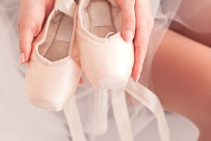 Ballet shoes closeup