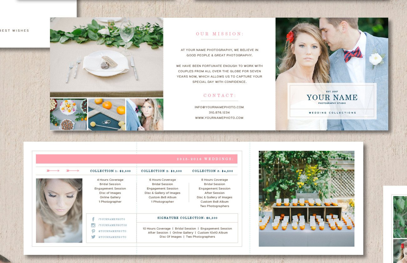 wedding brochure templates - price list for wedding photographers brochure templates