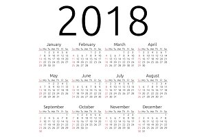 Vector calendar 2018, Sunday