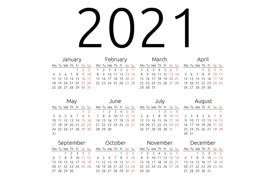 Simple calendar 2021, Monday ~ Stationery Templates ...