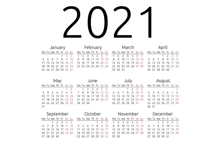 Simple calendar 2021, Monday | Creative Stationery ...