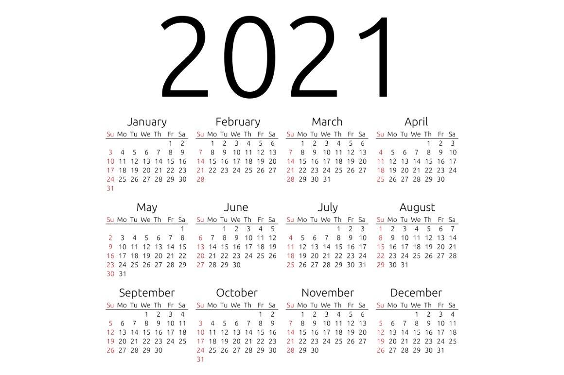 Vector calendar 2021, Sunday | Creative Stationery ...