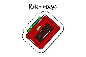 Fashion patch element retro cassette player