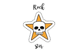 Fashion patch element rock star skull