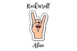Fashion patch element Rock-n-Roll alive
