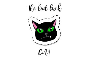 Fashion patch element black cat