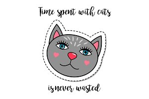 Fashion patch element grey cat