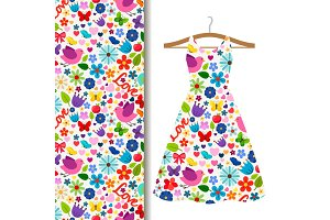 Dress fabric pattern with spring pattern