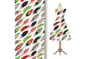 Women dress fabric pattern with feathers