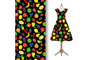 Women dress fabric with fruit pattern