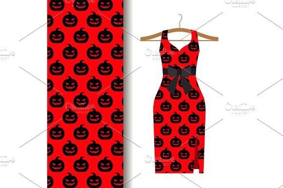 Women Dress Fabric With Halloween Pumpkin