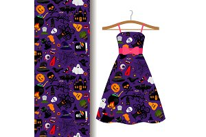 Dress fabric with colorful halloween pattern