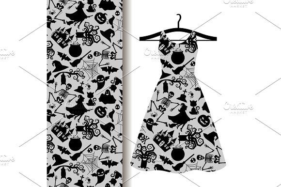 Women Dress Fabric With Halloween Symbols