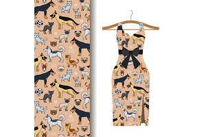 Dress fabric with dogs and cats