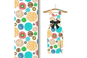 Women dress fabric pattern with dots