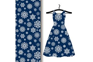 Women dress fabric pattern with Snowflakes