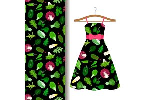 Women dress fabric pattern with vegetables