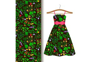 Dress fabric pattern with wild herbs