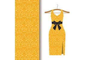 Dress fabric with yellow arabic pattern